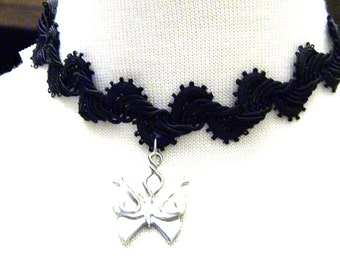 Black Rick a Rack Lace Choker with Butterfly Charm Vintage Necklace
