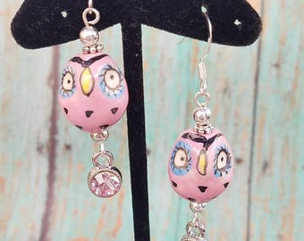 Pink porcelain owl earrings.