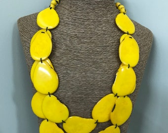 Tagua nut jewelry- bead necklace. Eco Friendly- Mustard Yellow