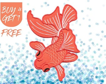 Koi Patch Fish Patches Iron On Patch Embroidered Patch Pet Goldfish