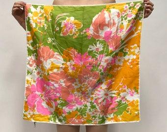 Vintage 70s Floral Square Scarf / Tapestry / Textile