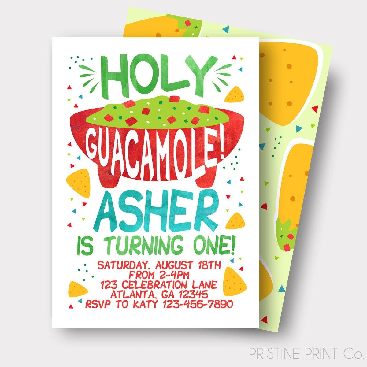 Fiesta Birthday Invitation Nacho Birthday Invitation Holy