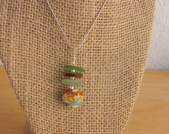 Stacked Sea Glass and Colorful Ceramic Bead Pendant Necklace BOHO STYLE