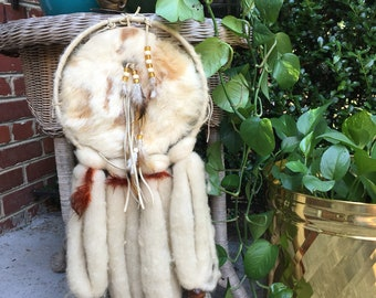 Large vintage wool and wooden beads dream catcher