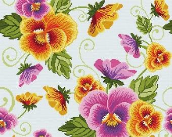 "Cross stitch pattern ""Pillow - Pansies"""
