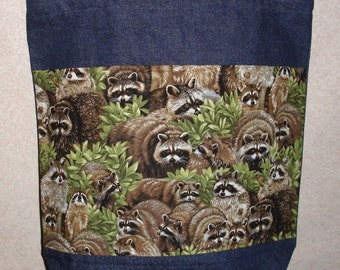 New Large Handmade Raccoon Wildlife Denim Tote Bag