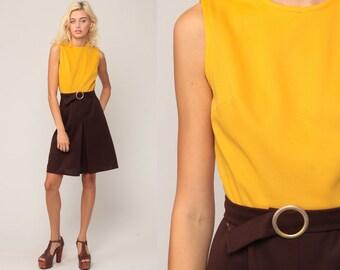 60s Mini Dress Mod Dress With Belt Yellow Brown 70s Gogo High Waist BELTED Vintage Sixties Twiggy Go go Sleeveless MiniDress Small