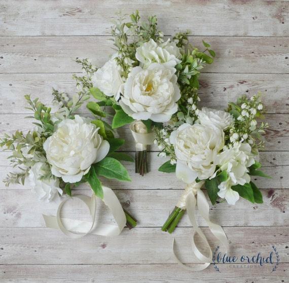 Boho Bridesmaid Bouquet Silk Flowers Silk Wedding Bouquet