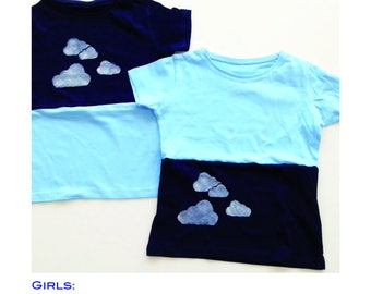 T-shirts clouds for girls 100% cotton Handmade in Italy