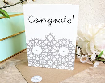 Congrats Wedding/ Graduation Card - Screen Printed w/ Elegant Lace Mosaic Pattern, Metallic Silver Glitter Details