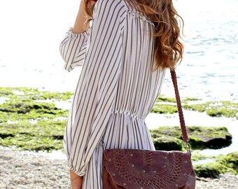 SILKY SHORE. Brown leather shouder bag / brown leather crossbody bag /  brown bag / boho leather purse. Available in other leather colors