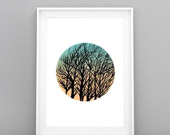 Instant Download Print/ Sunrise Print Download/ Download Art Print/ Tree Art Print/ Art For Download/ Original Art Print/ Nature Print