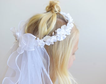 The Penelope First Communion Veil in white with beaded headband