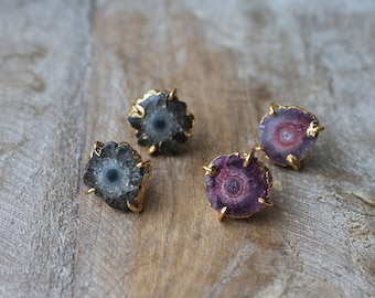 Solar quartz stones 24 K gold edges stud earrings
