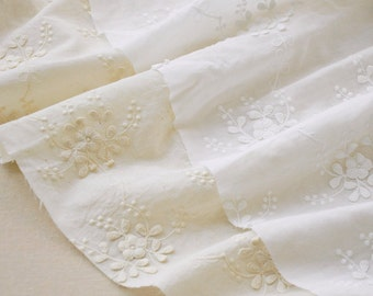 cotton lace fabric with 3D flowers, cotton embroidered lace fabric