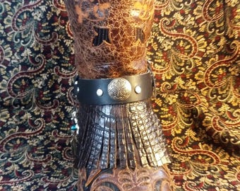 Leather Boot-Strap Bracelet/Anklet with Silver Native Design Concho