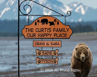 Outdoor Wood Sign Etsy- Pine Tree, Bears Cabin Sign - Our Happy Place - Custom camping sign Curtis Name Sign