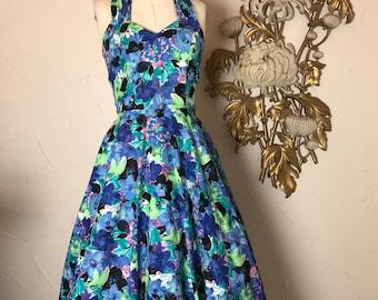 1980s dress halter dress vintage dress 80s sundress size small Roberta dress 50s style dress floral dress full skirt dress rockabilly dress