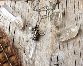 Om jewelry, crystal necklace, quartz point necklace, yoga jewelry, bohemian jewelry, gift for her