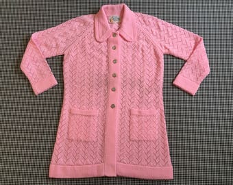 1970's, 3/4 length, long collar, cardigan, in pink, Women's size Medium