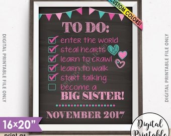 """To Do List Pregnancy Announcement, Going to be a BIG SISTER Sign, Expecting Baby Number 2, 8x10/16x20"""" Chalkboard Style Printable Sign"""