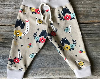 Organic Baby Joggers, Baby Joggers, Horse Baby Joggers, Organic Baby Clothing, Horse Baby Leggings, Baby Leggings, Baby Pants, Organic Baby