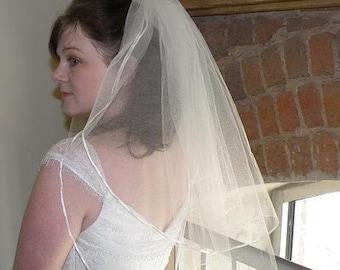 Wedding veil - Elbow Length - two layer bridal veil with tiny satin ribbon trim and blusher