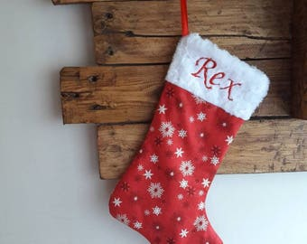 Scandi snowflake personalised Christmas stocking