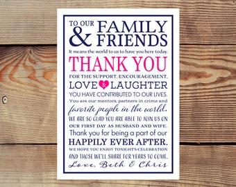 Printable Wedding Reception Thank You Card Digital File