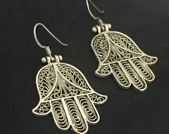 """Moroccan Sterling Filigree Silver """"Khamsa"""" Earrings"""