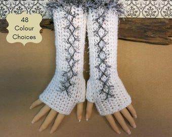 Corset Fingerless Gloves, White Wool Acrylic Arm Warmers 48 Colours