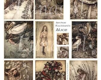 ALICE in WONDERLAND collage sheet DOWNLOAD vintage images Rackham fairy tale storybook illustrations altered art fantasy ephemera digital