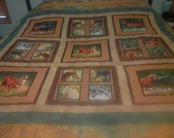Handmade quilt with horses browns greens golds