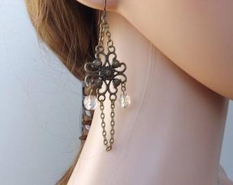 Dangle earrings, Autumn earrings, autumn jewellery, Steampunk earrings, chandelier earrings, retro jewellery, niobium, bronze earrings