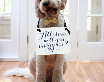 """Personalized Proposal Sign """"Will You Marry Me"""" / """"She Said Yes"""" With Her Name Engagement Banner Handmade USA Propose Modern Script 1109 BW"""