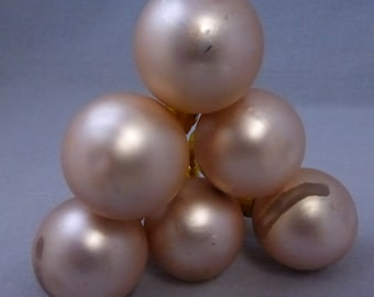 Six Vintage 30mm Matte Gold Glass Balls  HO213