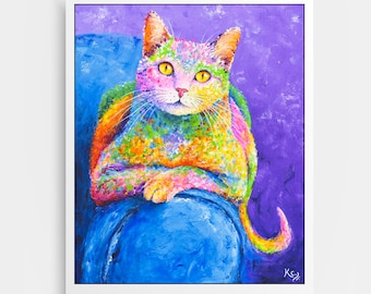 "Cat Artwork - Colorful Cat Art Print of My Cat Painting ""Miss Karma"", Cats, Giclee Cat Print, Cat Portrait, Cat Gift Idea, Cat Lover Gift."