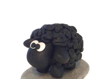 Sheep Cake Topper, Sheep Gift, Polymer Clay, Sheep Ornament, Birthday Cake Topper, Animal Cake Topper, Sheep Decoration, Cute Sheep Decor