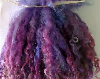 Wensleydale Locks for Doll Making 1 oz Purple Ice