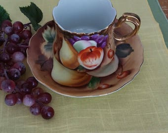 Lefton China Brown Heritage Fruit Cup and Saucer