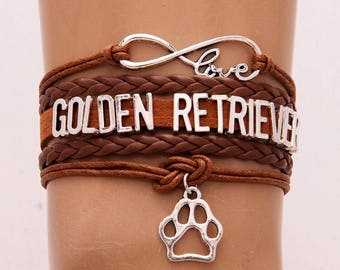 Golden Retriever Brown Adjustable Wrap Bracelet