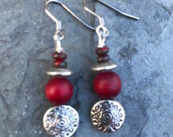 Earrings, Dangle Earrings, Boho Earrings, Red and Silver Earrings, Holiday Earrings, Womans Earrings, Womans Jewelry