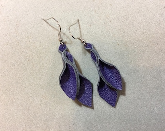 Petal Collection: violet leather petal earrings