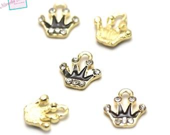 "4 enameled charms ""black rhinestone Crown"", 11, 5 x 10 mm"
