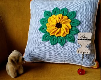 Hand crochet pillow for home decor-Decorative pillow-BLUE -handmade cushion-silk pillowcase-yellow flower-good present-Mom Gift-Free shiping
