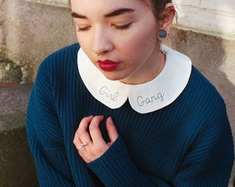 Girl gang removable embroidered Peter Pan Collar - Faux col Claudine brodé girl gang