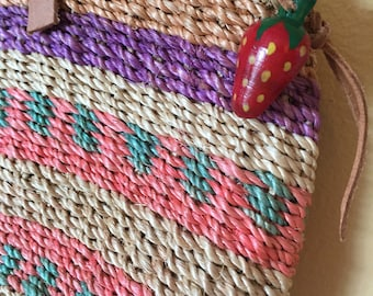 Vtg Woven Basket Purse Sm//Md