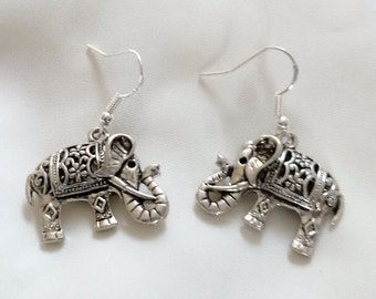 Earrings - Silver Elephant Earrings - Elephant Earrings - Drop Earrings - Sterling Silver Hooks