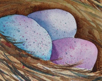 Bird's Nest with Eggs Original Watercolor Painting 8x10 matted