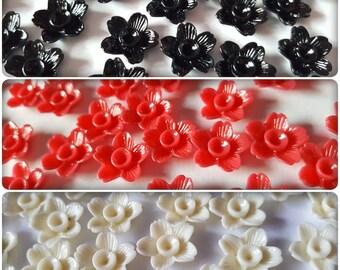 15mm flower cabochons, Flower flatbacks, Flower cabochons, Resin cabochons, Resin flowers, Flower embellishments, Flowers